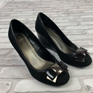 Impo Tamah Black Bow Wedge Heels